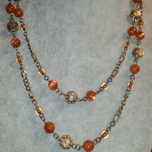 Icing Gold, Multi-Strand, Faux Amber Station Neckl